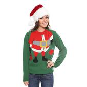 Ladies Santa Elf Christmas Jumper - Green