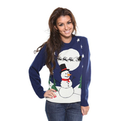 Ladies Snowman Christmas Jumper - Navy