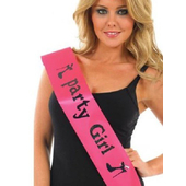 Party Girl Sash - Black and Pink