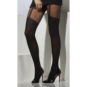 Suspender Print Tights - Black