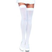 Nylon Thigh High Stockings - White