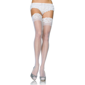 """3"""" Lace Top Stay Up Thigh High Stockings - White"""