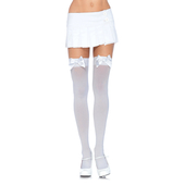 Over The Knee Stockings With Bow - White