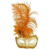 Glitter Eye Mask With Feathers - brown