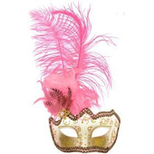 Glitter Eye Mask With Feathers - pink
