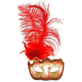 Glitter Eye Mask With Feathers - Red
