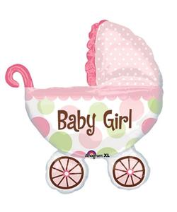 Baby Girl Pram Foil Balloon