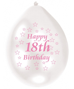 Pink/White Happy Birthday 18th Balloon - 10 Pack