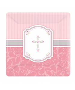 Communion Blessing Pink Paper Plates - 8 Pack