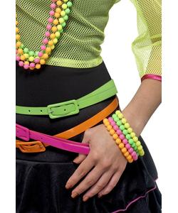 Neon Beaded Bracelets - 4 Pack