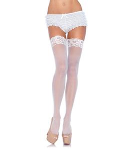 White Nylon Sheer Thigh High Stockings