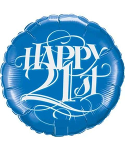 Happy 21st Round Foil Balloon - Blue