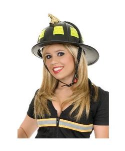 black firemans helmet